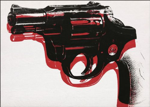 ART - POP ART GUN WHITE canvas print - self adhesive poster - photo print